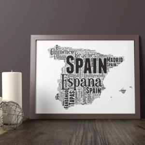 Personalised Spain Map Word Art Print