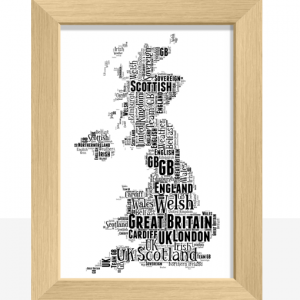 Travel Personalised UK Map Word Art Print