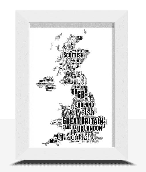 Personalised UK Map Word Art Print