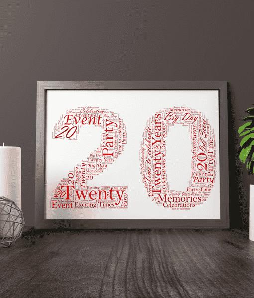 Anniversary Gifts 20th Birthday – Anniversary Word Art Gift