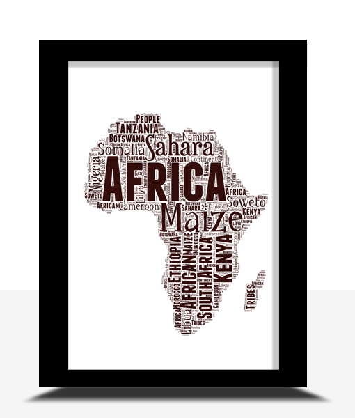 Travel Personalised Africa Map Word Art Print