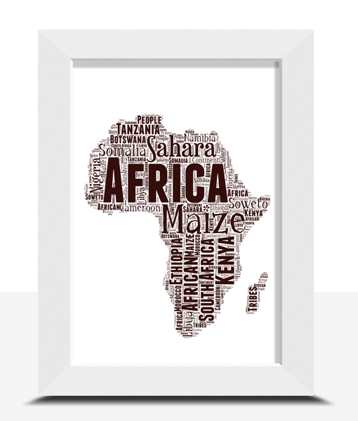 Personalised Africa Map Word Art Print