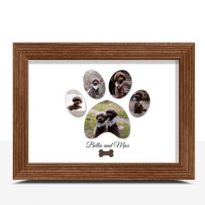 Personalised Pet Dog Paw Photo Print Animal Prints
