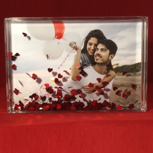 Anniversary Gifts Heart Confetti Photo Block