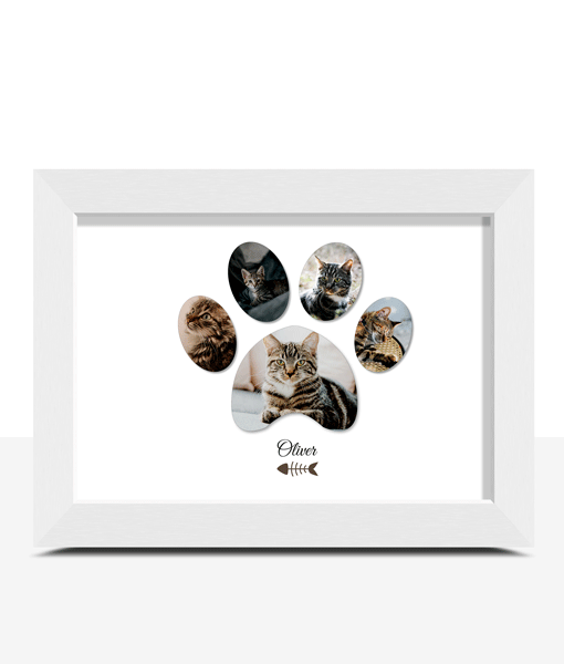 Animal Prints Personalised Pet Cat Paw Photo Print