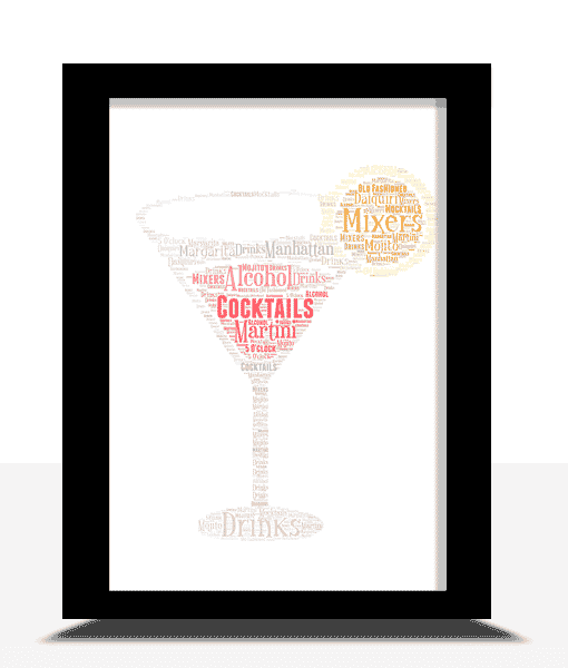 Food And Drink Personalised Cocktail Glass Word Art