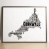 Travel Personalised Cornwall Map Word Art Print