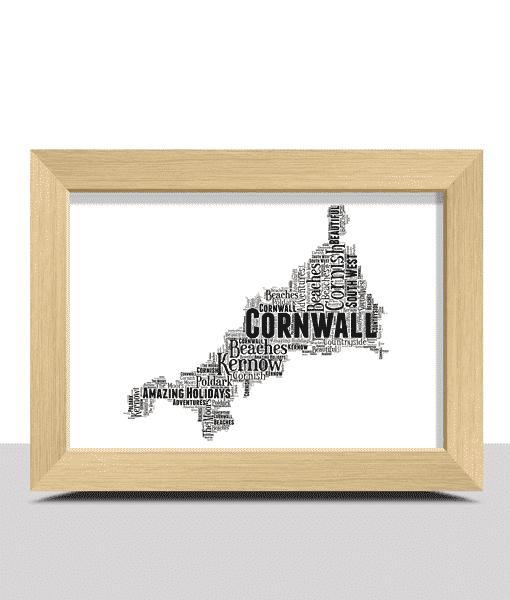 Personalised Cornwall Map Word Art Print