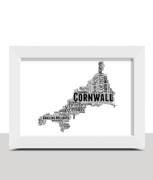 Travel Personalised Cornwall Map Word Art Print