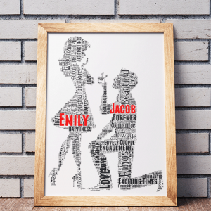 Personalised Engagement Gift Word Art