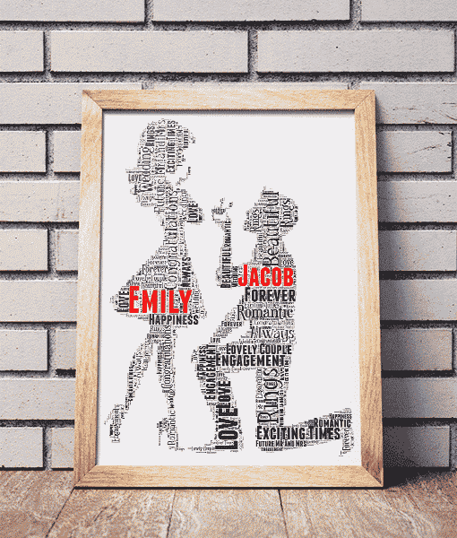 Personalised Engagement Gift Word Art Abc Prints
