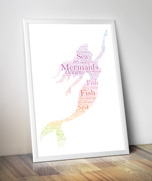 Mermaid Word Art Print Gifts For Children