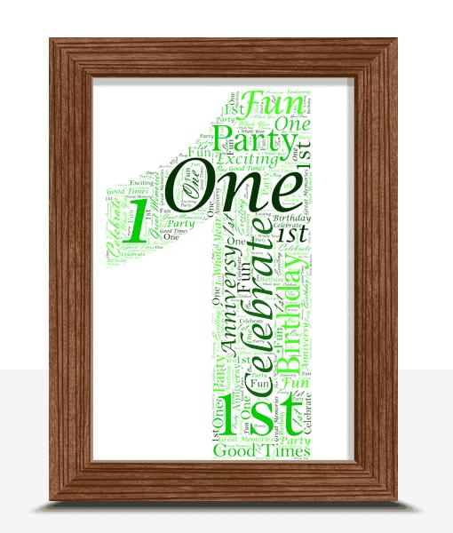 1st Birthday – First Anniversary Word Art