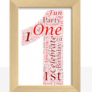 1st Birthday – First Anniversary Word Art