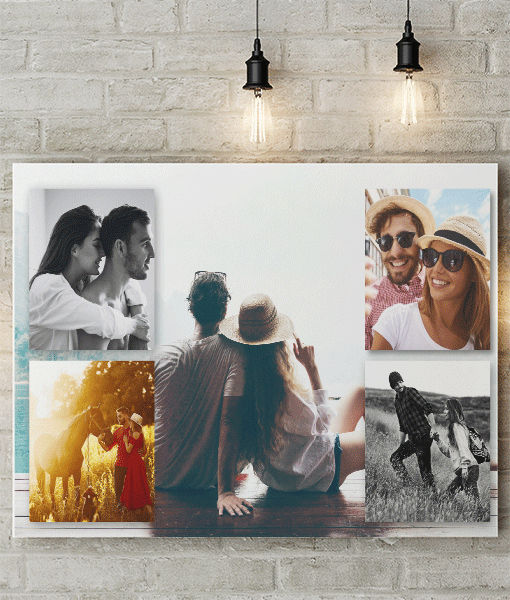 5 photo personalised collage canvas print abc prints
