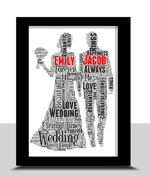 Wedding Gifts Personalised Wedding Couple Gift Word Art