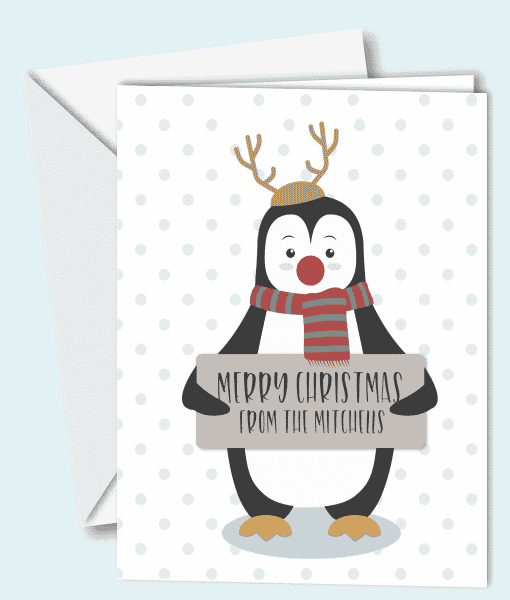Christmas Personalised Penguin Christmas Cards