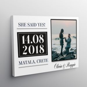 """""""She Said Yes!"""" Personalised Engagement Gift – On Canvas"""