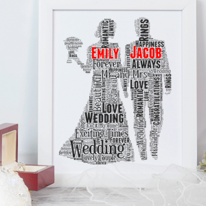 Personalised Wedding Couple Gift Word Art