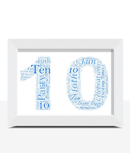 10th Birthday – Anniversary Word Art Gift