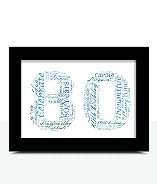 Birthday Gifts Personalised 80th Birthday Word Art Gift