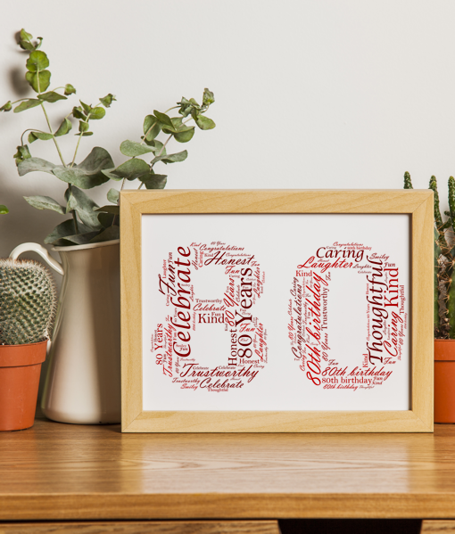 Birthday Gifts Personalised 80th Birthday Word Art Gift