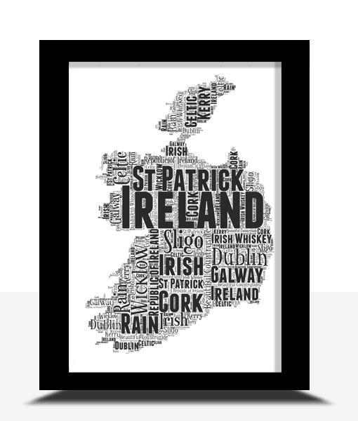 Travel Personalised Ireland Word Art Map
