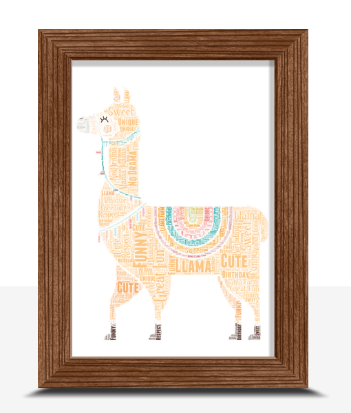 Animal Prints Personalised Llama Word Art Print