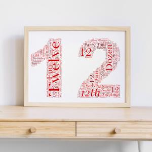 12th Birthday Word Art Gift