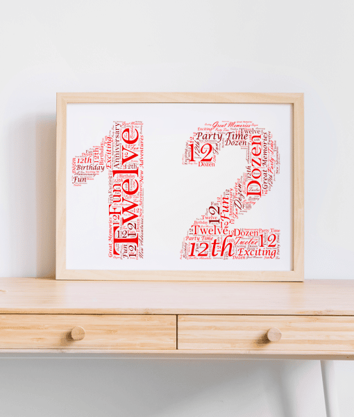 Anniversary Gifts 12th Birthday Word Art Gift