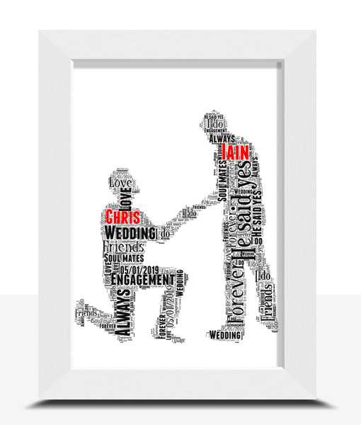 Engagement Gifts Gay Male Personalised Word Art Engagement Gift