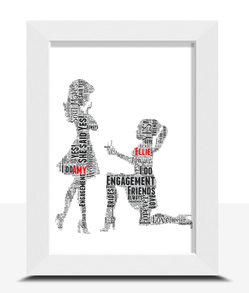 Engagement Gifts Gay Female Personalised Word Art Engagement Gift