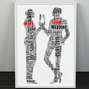 Gay Male Wedding Couple Gift Word Art