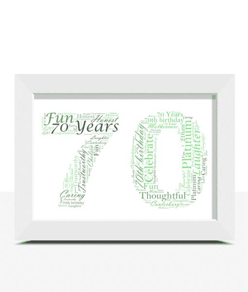 Personalised 70th Birthday Word Art Gift Birthday Gifts