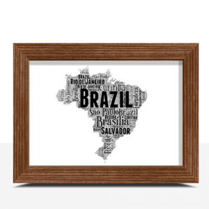 Personalised Brazil Word Art Map Travel