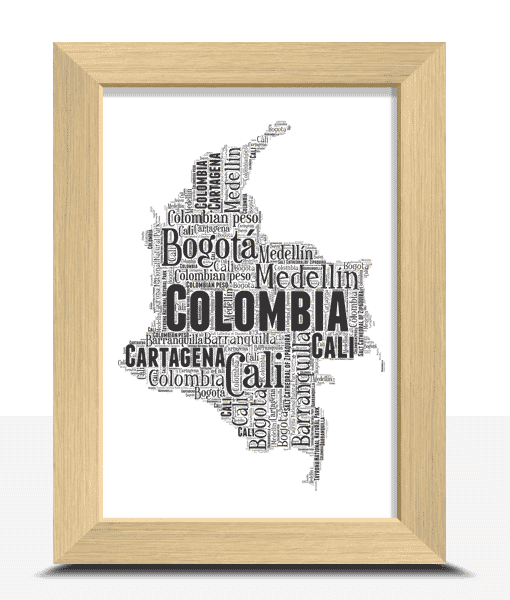 Personalised Colombia Word Art Map