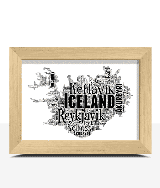 Travel Personalised Iceland Word Art Map