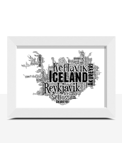 Personalised Iceland Word Art Map