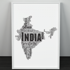 Personalised India Word Art Map