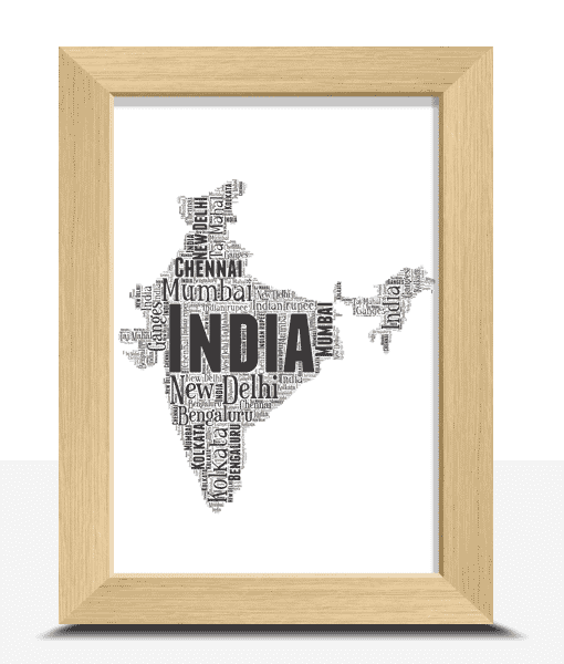 Travel Personalised India Word Art Map