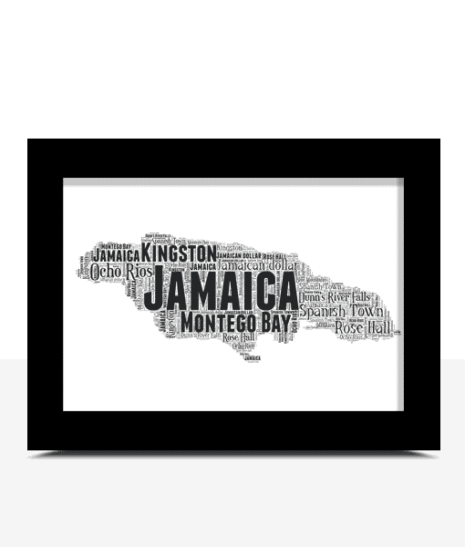 Personalised Jamaica Word Art Map