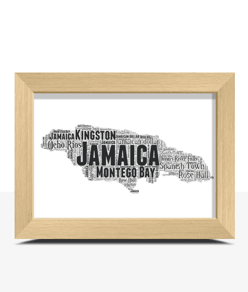 Travel Personalised Jamaica Word Art Map
