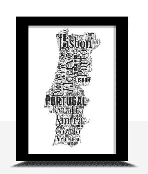 Personalised Portugal Word Art Map