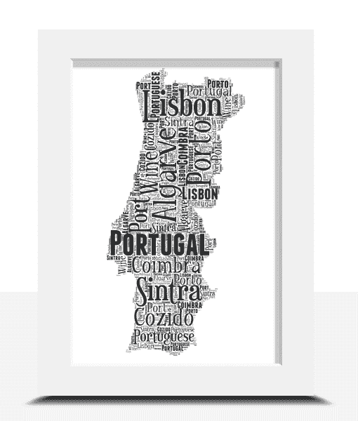 Travel Personalised Portugal Word Art Map