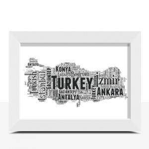 Personalised Turkey Word Art Map