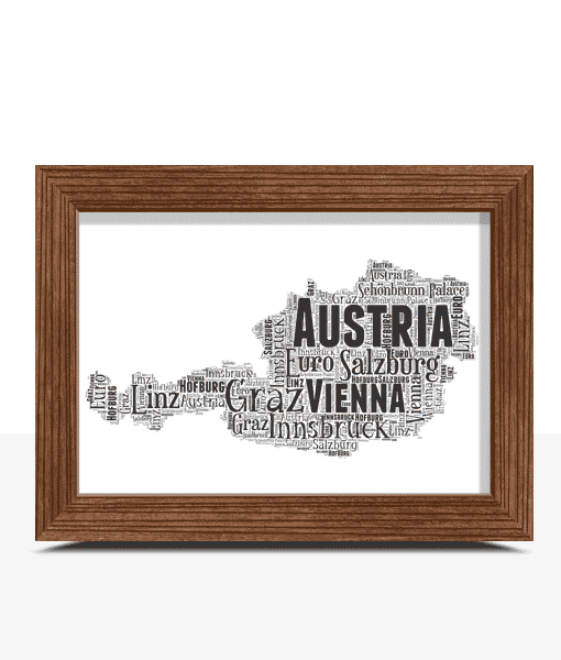 Personalised Austria Word Art Map