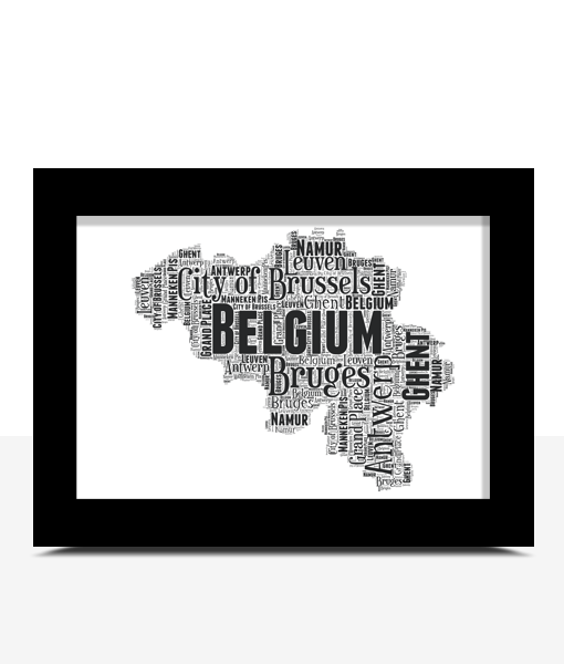 Travel Personalised Belgium Word Art Map