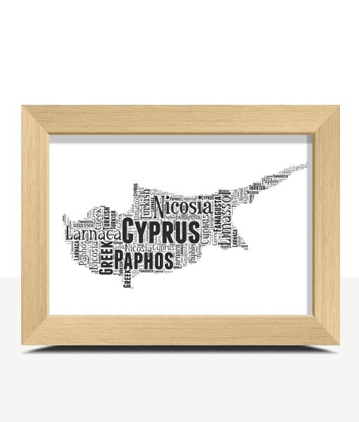 Travel Personalised Cyprus Word Art Map