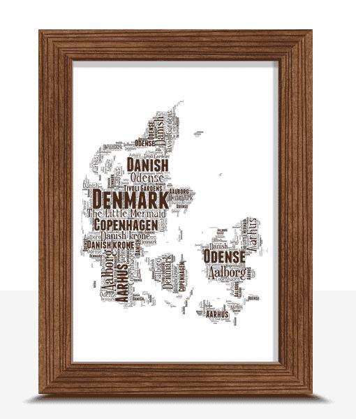 Travel Personalised Denmark Word Art Map