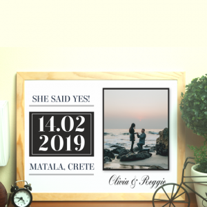 "Engagement Gifts ""She Said Yes!"" Personalised Engagement Gift"
